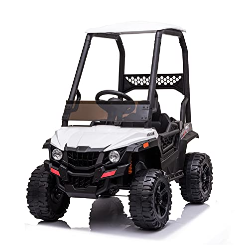 BISHE Powered UTV with Ceiling, White Electric Ride-on Car for Kids, Toy Car with LED Headlights, 12V Large Battery Capacity Car Ride-on Toys, Utility Vehicle Toy Ride On with 2.4GHZ Remote Control -  BUS-CARW42229399WH