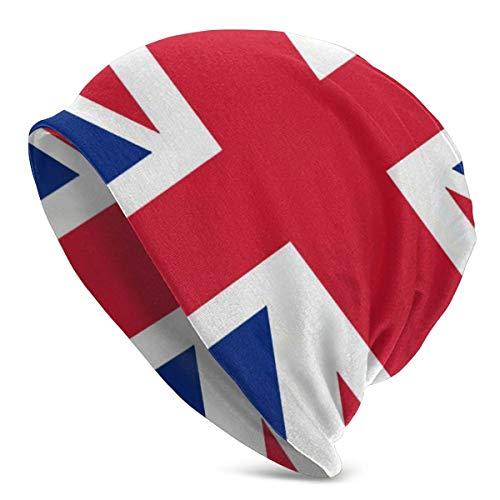 Knit Beanie Hat La Bandera del Reino Unido Skull Cap Esquí Hip Hop Warm Beanie Hat para Hombres Negro