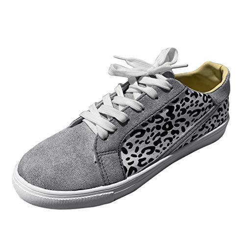 Damen Schnürhalbschuhe Leopard Schnürschuhe(1-Grau/Gray,38)