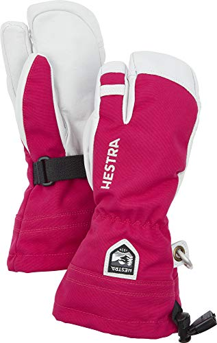Hestra Jungen Kid's Army Leather Heli Ski 3 Finger HandschuheRosa/Grau 3