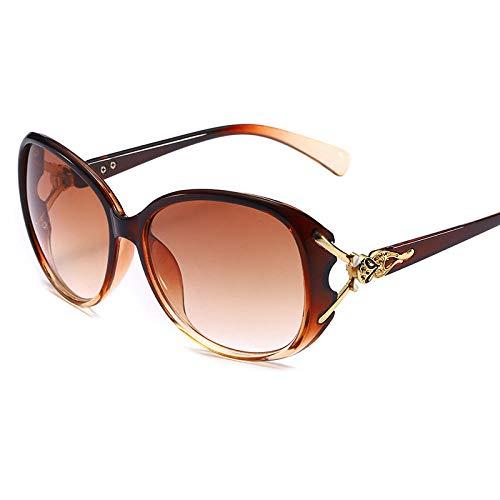 hqpaper Gafas de sol de cabeza de zorro Gafas de sol clásicas de todo fósforo de moda europea y americana- (Luz polarizada) _Tea frame gradient tea
