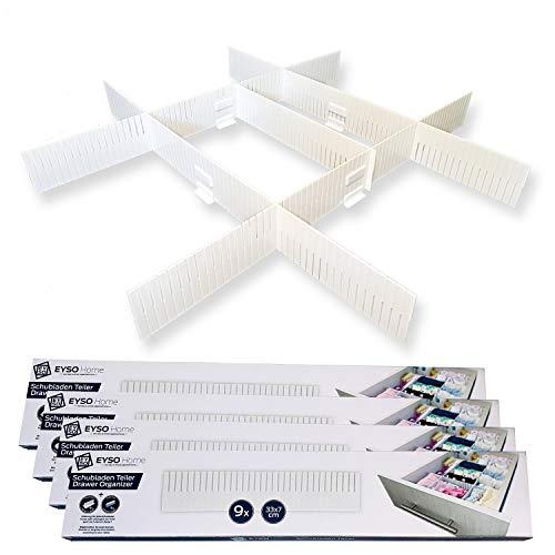 EYSO Home ® Schubladenteiler 36er Set 33x7 cm inkl. Verbinder – passt genau für Deine Schublade [verlängern, kürzen, einteilen] - das Ordnungssystem