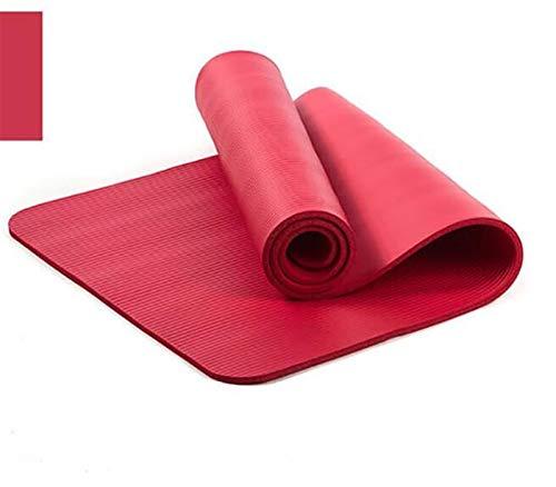 SDFDS Yoga-Matte, hochwertige 10mm mit einem tragbaren Seil 183 * 61cm rutschfeste Dicke Matte Fitness Pilates-Matte, geeignet for den Außenbereich und Fitness 114 (Color : Red)