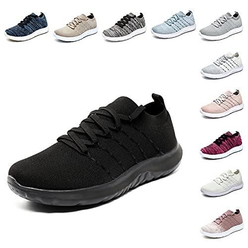 Scarpe da Ginnastica Donna Sportive Scarpe Corsa Running Comode Leggero Fitness Sneaker Basse GymOutdoor Tutto-Nero Taglia EU 39
