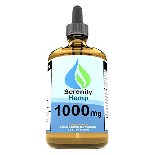 Serenity Hemp Oil - 4 fl oz 1,000 mg (Orange) - Relief for Stress, Inflammation, Pain, Sleep, Anxiety, Depression, Nausea - Rich in Vitamin E, Vitamin B, Omega 3,6,9 & More