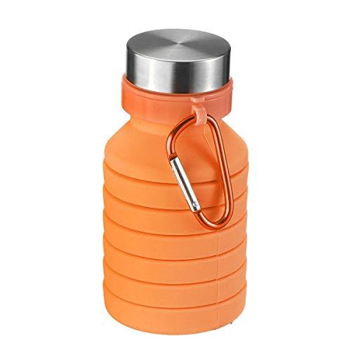Jinshang 550 ml bottiglia di acqua pieghevole in silicone utile viaggio esterno escursionismo corsa bottiglia d'acqua con moschettone (colore : arancione)
