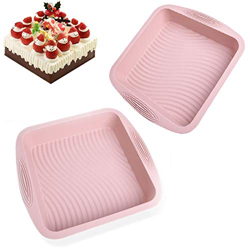 Square Cake Silicone Molds PanSilicone Bakeware Homemade BrownieCakeBreadNonstick Silicone Wave pattern Baking Mold By Plaifey Kitchen Baking Tools 104x97x22 Inch Pink