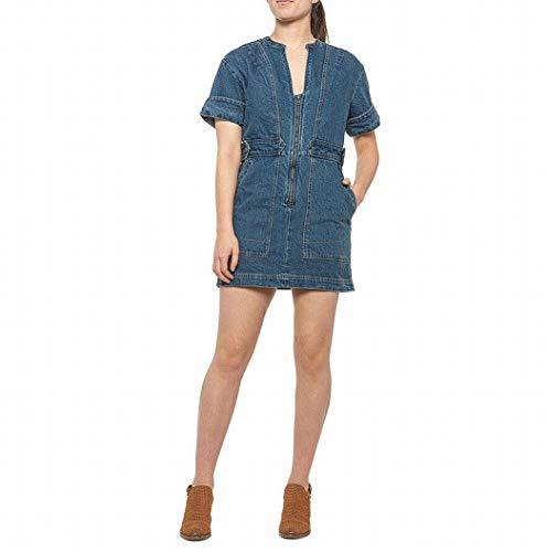Free People Women's Dream On Denim Minidress (Indigo Blue, Large)