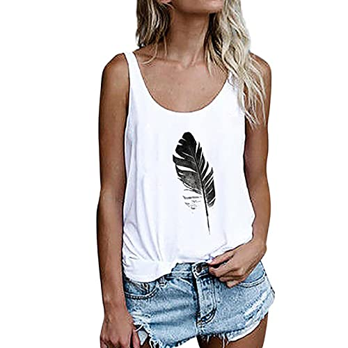Camiseta Holgada de Chaleco Informal Camiseta sin Mangas de Verano para Mujer Top de Cuello Redondo con Estampado de Hojas