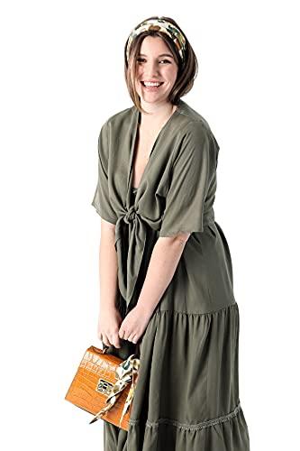 Bolero grande para mujer, color verde y caqui en Tencel liso JeanMarcPhilippe verde y caqui 54-56