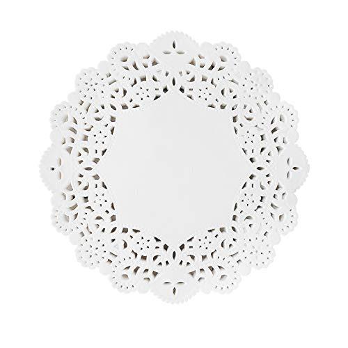 商品名称  100 blondas de encaje desechables de papel de encaje blanco, blondas de embalaje para tartas, decoración de mesa de boda, manteles individuales para fiestas, hogar (8,5 pulgadas/21,5 cm)