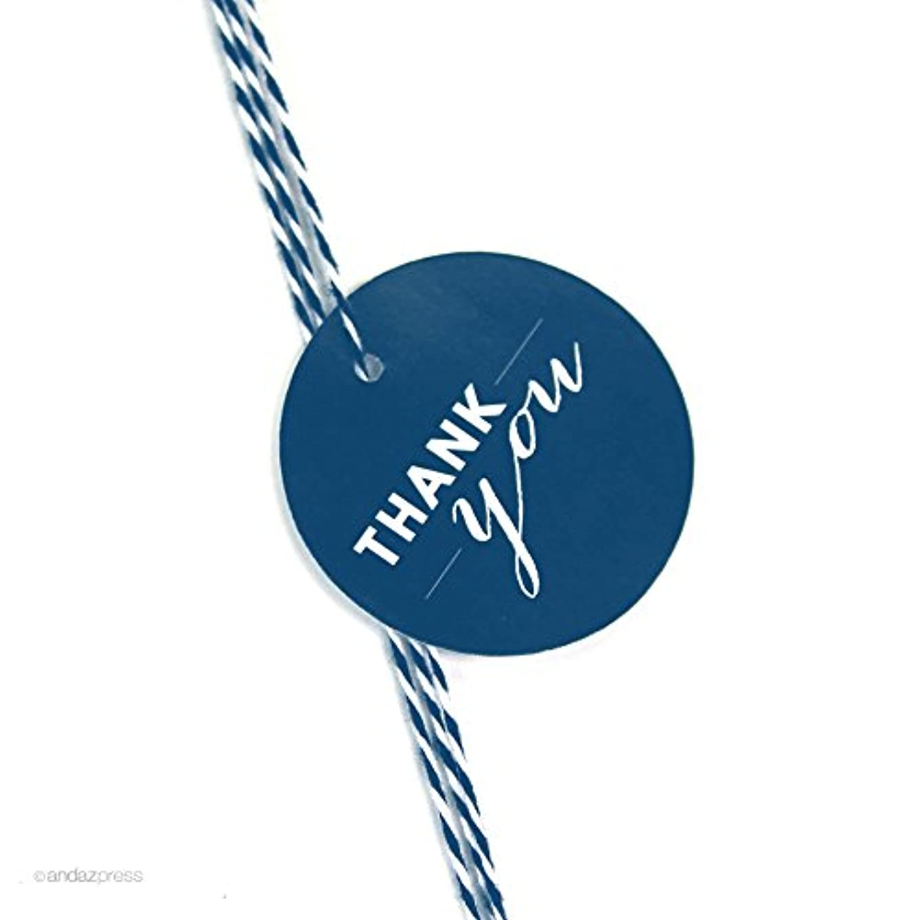 Andaz Press Circle Gift Tags, Chic Style, Thank You, Navy Blue, 24-Pack