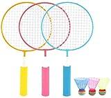 HLD Tennisbälle Spielzeug-Geschenk for Jungen, Mädchen, Kinder Racket Set Weiche Badminton mit Federball Bälle Jungen und Mädchen Strand Outdoor-Soft-Badminton mit Federball Bälle Jungen und Mädchen S
