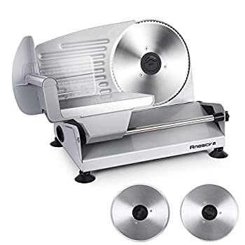 Meat Slicer Anescra 200W Electric Deli Food Slicer with Two Removable 7.5'' Stainless Steel Blades and Food Carriage Child Lock Protection 0-15mm Adjustable Thickness Food Slicer Machine- Silver