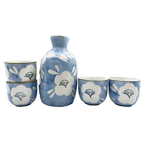 Caalio Japanisches Sake-Set – Porzellan Sake-Tokkuri-Flasche 236 ml und vier Sake-Ochoko-Becher 59 ml (Flower Shadow)