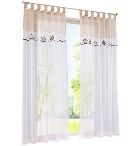 BAILEY JO 1PC Gardine mit Eule Stickerei Vorhange für Kinderzimmer Transparent Voile Vorhang (BxH 140x225cm, Sand mit schlaufen)