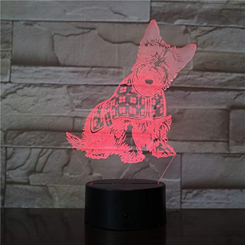 3D Illusion Nuit Lumière Chien animal de compagnie Led Bureau Table Lampe 7 Couleur Tactile Lampe Maison Chambre Bureau Décor Pour Enfants D'Anniversaire De Noël Cadeau