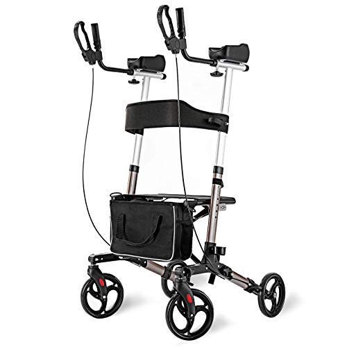 """RINKMO Rollator Walker for Seniors and Adults Stand Up Folding Walker with Seats and 8"""" Wheels, Padded Armrest and Backrest, Tall Rolling Mobility Aid with Basket"""