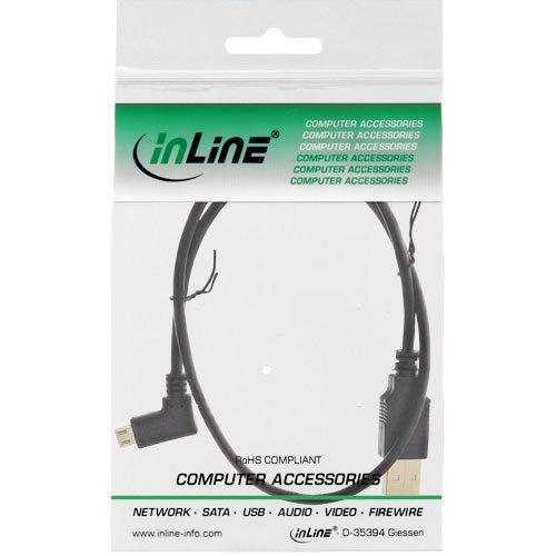 InLine 31705T Micro-USB 2.0 Kabel, USB-A Stecker an Micro-B Stecker gewinkelt, vergoldete Kontakte, 0,5m