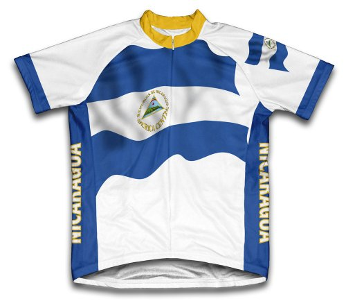 ScudoPro Nicaragua Flag Short Sleeve Cycling Jersey for Men - Size XL
