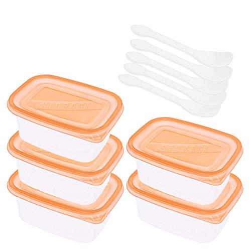 5 x Kunststoff-Lebensmittel-Aufbewahrungsbox, 709 ml, Bento-Lunch-Box mit Deckel und Löffeln, stapelbare Behälter, Obstkuchen, Creme, Aufbewahrungsbox (orange)