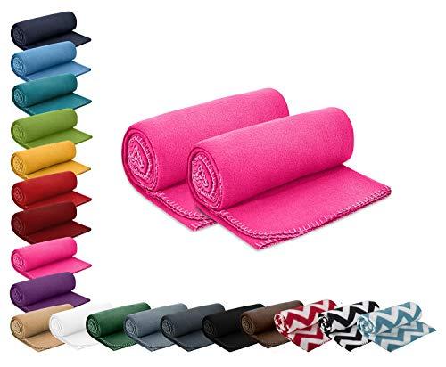wometo 2er Set Polar- Fleecedecke 130x160 cm ca. 400g wertiges Gewicht mit Anti-Pilling Kettelrand Farbe pink in vielen bunten Farben