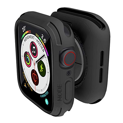 elkson Compatible with Apple Watch Series 5 4 Bumper case 44mm iwatch Quattro Series Cases Fall Protection Durable Military Grade Protective TPU Flexible Shock Proof Resist Men 44 mm Stealth Black
