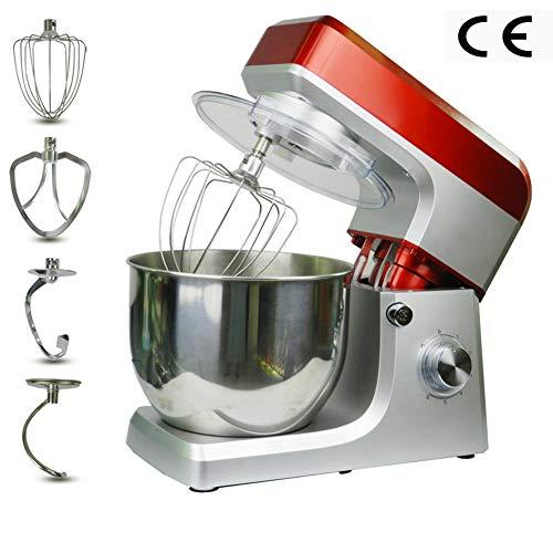 1200W keukenmachine (6 snelheden, 7 liter), automatisch kantelbare kop dubbele kneedhaak, kneedmachine met 3 accessoires