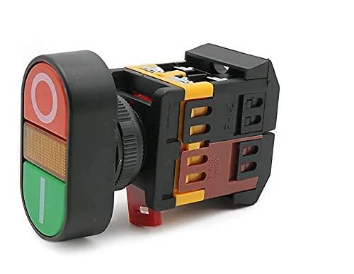 LGFCOK 22mm 25mm 22 0V AC EN/Fuera de Inicio Parada 1 NO NC 2 Botones 22N Interruptor de pulsador de Doble Cabeza de Doble Cabeza con DIRIGIÓ Lámpara Amarilla (Size : 220V)