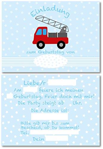 12 Einladungskarten für Kindergeburtstag Feuerwehr/Feuerwehrmann/Hellblau Pastell/Format DIN A6