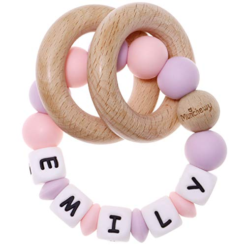 Munchewy Personalized Name Baby Rattle Teether Ring, Customizable Silicone Sensory Chew Bracelet with Natural Organic Beech Wood Teething Rings for Baby Girls Teether Toys(Quartzpink/Lilac)