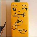 Ziruixiong Decoracin Para El Hogar Happy Delicious Face Sticker Smiley Face Fridge Wall Window Mirror Fridge Stickers Black 40 * 30Cm Simpe Decor