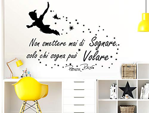 Adesivi Muro Frasi Peter Pan Non smettere mai di sognare Solo chi sogna può Volare Citazione Wall Sticker Adesivi Murali Camera da letto Frasi Amore Sognare Stickerdesign