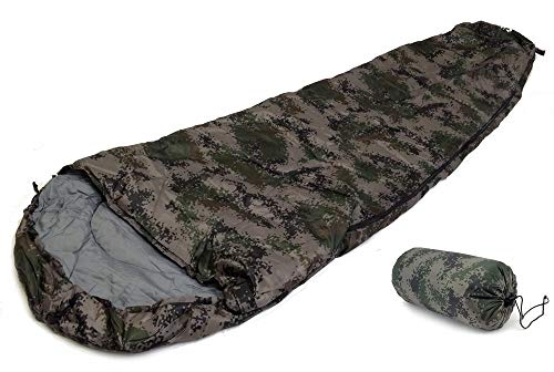 SLEEPING BAG - MUMMY Type 8' Foot CAMOUFLAGE ARMY- 20+ Degrees Carry Bag NEW