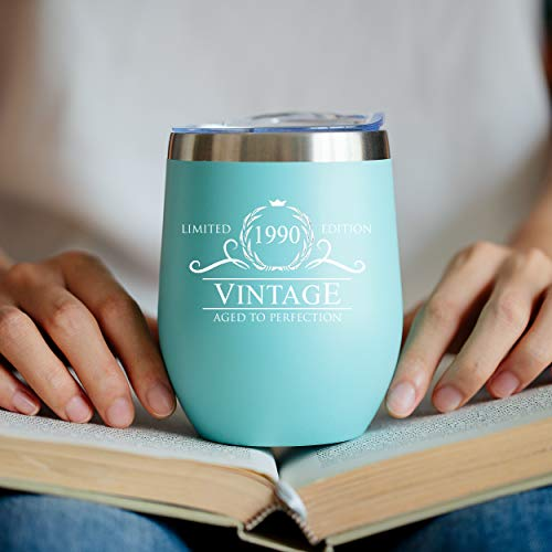1990 30th Birthday Gifts for Women Men - 12 oz Mint Insulated Stainless Steel Tumbler w/ Lid - Vintage 30 Year Old Best Gift Present Ideas for Him Her - Tumblers Party Decorations Supplies Presents