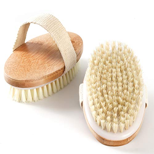Exfoliating Dry Body Brush, 2 Pack Back Scrubber with Soft and Stiff Bristles, Wet and Dry Bath Brush for Cellulite and Lymphatic, Suitable for Sensitive and All Kinds of Skin