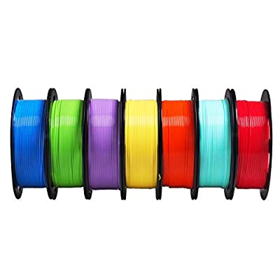 PLA 3D Printer Filament 7 Spools Bundle, 1.75mm Red Blue Yellow Green Cyan Orange Purple PLA 7 in 1 Rainbow Colors, Each Roll 0.5kg Total 3.5kgs with One Bag Sample Color Gift MKOEM