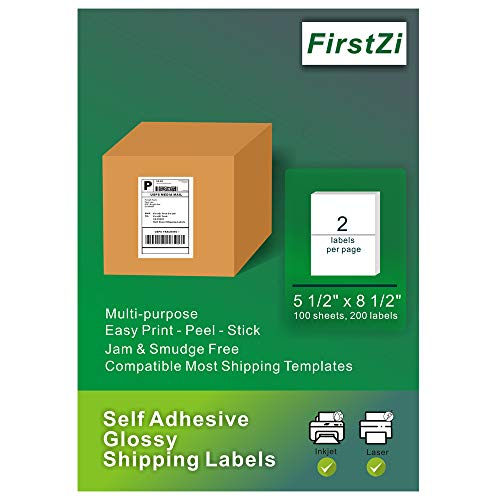 FirstZi 200 Count Half Sheet Self Adhesive Glossy Shipping Labels for Laser and Inkjet Printers, 5.5x8.5 Inches 2 Labels per Page, Printable, Durable,100 Sheets (200Labels) 1 Box