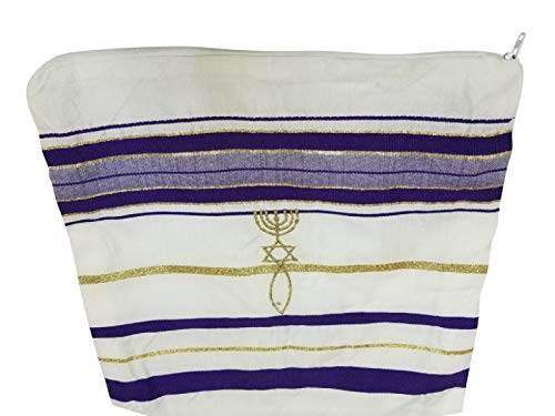 New Covenant Prayer Shawl, English / Hebrew & Bag (Israel) Holy Land (Purple)