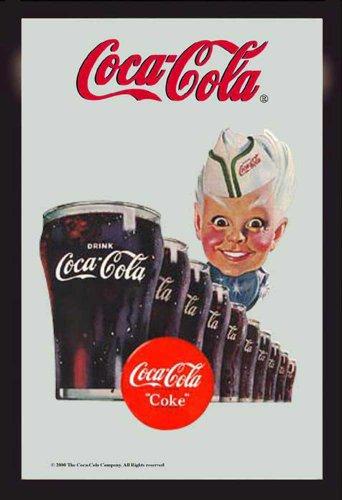 empireposter - Coca Cola - glazen - afmetingen (cm), ca. 20x30 - Bedrukte spiegel, NIEUW - beschrijving: - Bedrukte wandspiegel met zwart kunststof frame in houtlook -