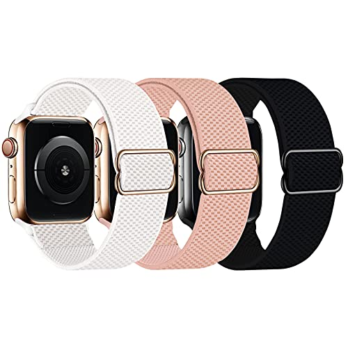 UPOLS Stretchy Solo Loop Strap Compatible with Apple Watch Bands 38mm 40mm 42mm 44mm, Adjustable Stretch Braided Sport Elastic Nylon Women Men Wristband Compatible for iWatch Series 6/SE/5/4/3/2/1