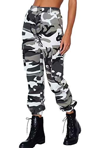 Lantch  Damen Hosen Camouflage Casual Jogginghose Sporthose Military Freizeithose Streetstyle, XL, Gelb