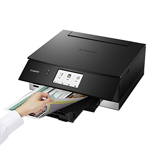 """Canon PIXMA TS Series Wireless Bluetooth All-in-One Color Inkjet Printer for Home Office - Print Speed up to 15.0 ipm, 6,656 Nozzles, 6-Color Individual Ink, 4.3"""" LCD Touchscreen"""