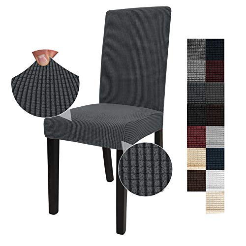 JIVINER Thick Stretchy Dining Chair Slipcover Set of 2 Washable Jacquard Parsons Chair Covers Removable Kitchen Chair Furniture Protector for Dining Room, Hotel, Party (2, Dark Gray and Black )