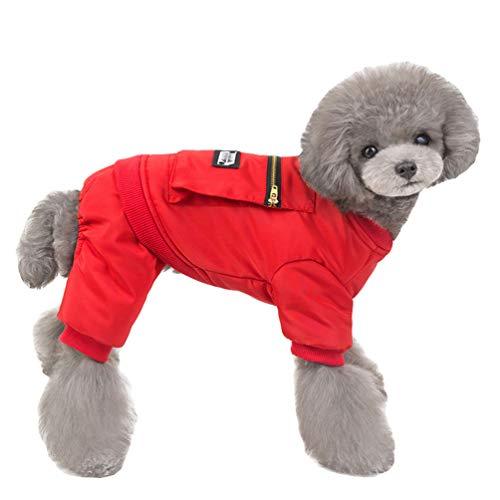 YOUJIAA Haustier Winteranzüge Einfarbig Jumpsuit Hund Katze Gepolsterter Mantel mit Traktionsring in D-Form (Rot, CN M)