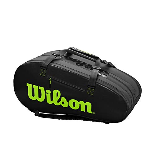 WILSON Super Tour 3 Comp Charco/Green Klassische Sporttaschen, schwarz, 13-15 Tennisschläger