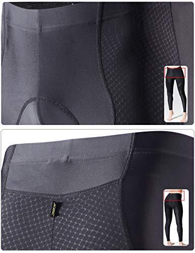 XGC Damen Lange Radlerhose Fahrradhose Radhose Radsportshorts für Frauen Elastische Atmungsaktive 4D Schwamm Sitzpolster mit Einer Hohen Dichte (Black, S) - 5