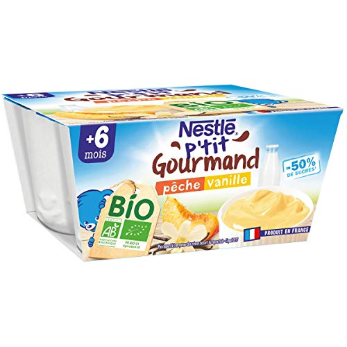 Nestlé Bébé P'tit Gourmand Bio Coupelle lactée Pêche, Vanille Dès 6 mois 4x90g