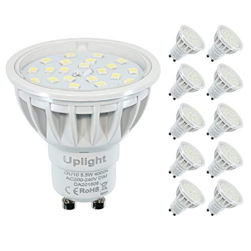 Dimmbar Gu10 LED Lampe Ersetz 50-60W Neutralweiß 4000k 600lm 120°Strahlwinkel LED Spotlight,10er Pack。