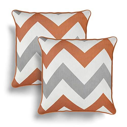 IT IDEAL TEXTILES Set of 2 Orange Chevron Cushion Covers, Pair of Terracotta Zig Zag Design Cotton Cushion Covers, Piped Trim Cushion Cases, Sofa Chair Throw Pillow Cases, 17' x 17', 43cm x 43cm